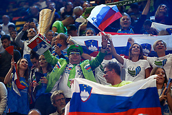 PARIS, FRANCE - SEPTEMBER 29: Fans of Slovenia enjoy the atmosphere during the EuroVolley 2019 Final match between Serbia and Slovenia at AccorHotels Arena on September 29, 2019 in Paris, France.  Photo by Catherine Steenkeste / Sipa / Sportida