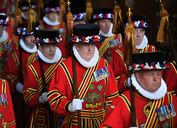Yeoman of the Guard ahead of the State Opening of Parliament by Queen Elizabeth II, in the House of Lords at the Palace of Westminster in London.