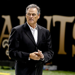 Aug 9, 2013; New Orleans, LA, USA; New Orleans Saints general manager Mickey Loomis during a preseason game against the Kansas City Chiefs at the Mercedes-Benz Superdome. The Saints defeated the Chiefs 17-13. Mandatory Credit: Derick E. Hingle-USA TODAY Sports
