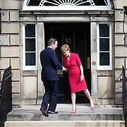 One week after the General Election the First Minister for Scotland SNP leader Nicola Sturgeon welcomes British Prime Minister David Cameron to Bute House, Charlotte Square, Edinburgh for talks. 15- 05- 15