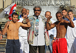 August 6, 2010; St. Louis, MO; USA; Devon Alexander (r) and Andriy Kotelnik (l) weigh-in for their upcoming bout at the Scotttrade Center in St. Louis, MO.