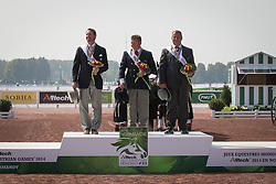 Boyd Exell, (AUS), Weber Chester, (USA), Theo Timmerman, (NED) - Driving Cones - Alltech FEI World Equestrian Games™ 2014 - Normandy, France.<br /> © Hippo Foto Team - Dirk Caremans<br /> 07/09/14