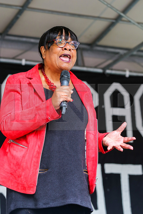 """© Licensed to London News Pictures. 07/09/2019. London, UK.  Diane Abbott MP for Hackney North and Stoke Newington speaks during """"Defend our Democracy and Stop Brexit"""" rally in Whitehall, Westminster. The protesters are demonstrating against the British Prime Minister Boris Johnson's intention to prorogue Parliament until 14 October. Photo credit: Dinendra Haria/LNP"""