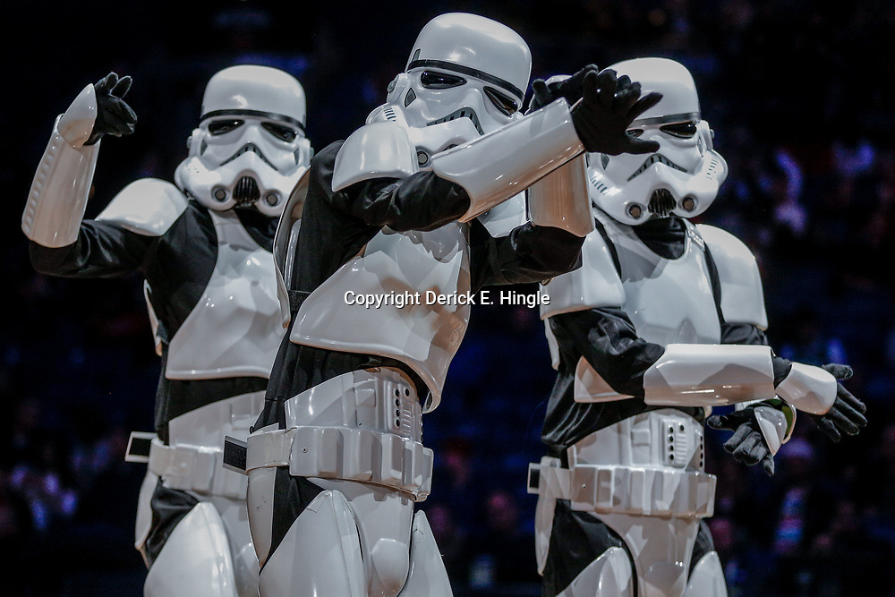 Dec 10, 2017; New Orleans, LA, USA; The Super Troopers a Storm Trooper dance squad performs during halftime on Star Wars night during a game between the New Orleans Pelicans and the Philadelphia 76ers at the Smoothie King Center. The Pelicans defeated the 76ers 131-124. Mandatory Credit: Derick E. Hingle-USA TODAY Sports