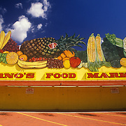 Fruit & vegetable signage on Corno's Food Market, Portland, Oregon. Torn down in 2006 and signage moved.