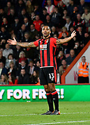 Callum Wilson (13) of AFC Bournemouth appeals for a penalty after being challenged by Luke Shaw (23) of Manchester United during the Premier League match between Bournemouth and Manchester United at the Vitality Stadium, Bournemouth, England on 18 April 2018. Picture by Graham Hunt.