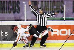 Zan Jezovsek of Jesenice and linesman Matjaz Hribar during ice hockey match between HDD Olimpija Ljubljana and HDD SIJ Acroni Jesenice in Final of Slovenian League 2016/17, on April 6, 2017 in Hala Tivoli, Ljubljana, Slovenia. Photo by Matic Klansek Velej/ Sportida