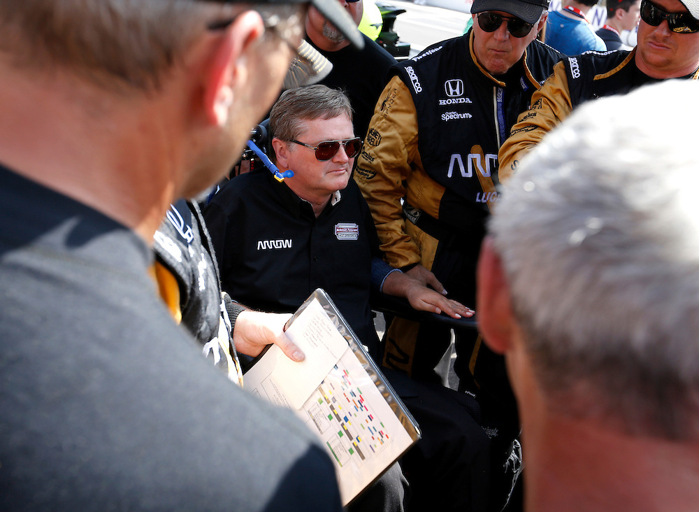 Team owner Sam Schmidt with his crew before the start of the 100th running of the Indianapolis 500 May 29, 2016.