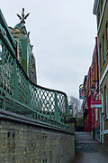 Hammersmith. London. United Kingdom,  General view, Pedestrian passage, to the Hammersmith Bridge. 2018 Men's Head of the River Race.  location Barnes Bridge, Championship Course, Putney to Mortlake. River Thames, <br />