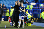 Blackburn Rovers Manager Tony Mowbray gives his final instructions to Blackburn Rovers midfielder Jacob Davenport (18) as he prepares to come on as substitute during the EFL Sky Bet Championship match between Sheffield Wednesday and Blackburn Rovers at Hillsborough, Sheffield, England on 18 January 2020.