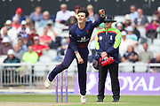 Lancashires Rob Jones during the Royal London 1 Day Cup match between Lancashire County Cricket Club and Leicestershire County Cricket Club at the Emirates, Old Trafford, Manchester, United Kingdom on 28 April 2019.