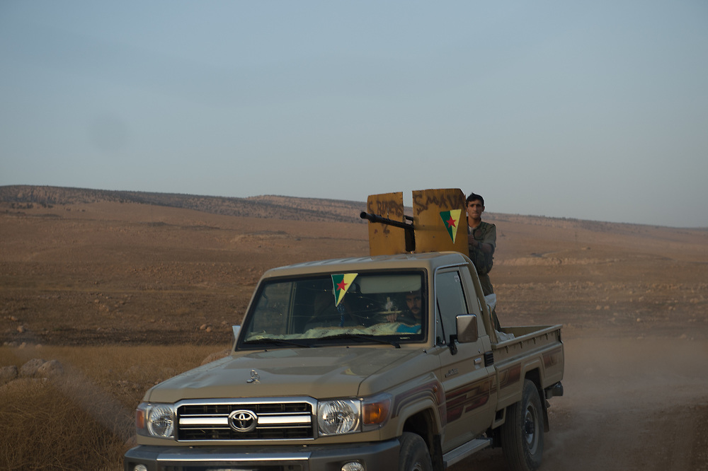 Members of HPG driving through Shingal area. Shingal (Sinjar), Iraq, September 8, 2015
