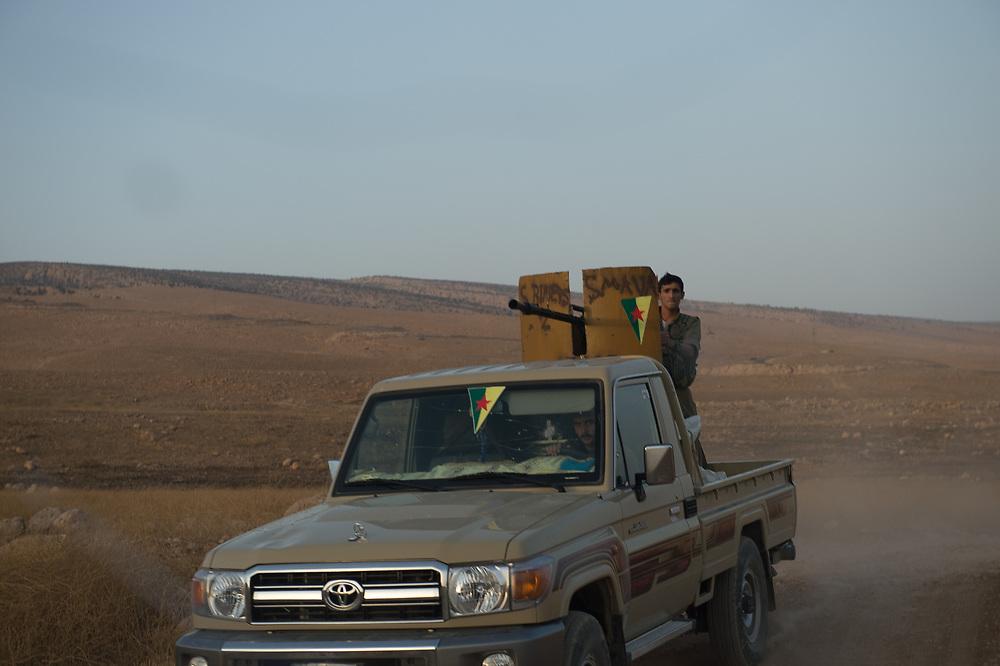 Members of HPG driving through Shingal area. Shingal (Sinjar), Iraq, September 8, 2015