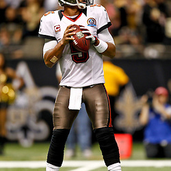 December 16, 2012; New Orleans, LA, USA; Tampa Bay Buccaneers quarterback Josh Freeman (5) against the New Orleans Saints during the second half of a game at the Mercedes-Benz Superdome. The Saints defeated the Buccaneers 41-0. Mandatory Credit: Derick E. Hingle-USA TODAY Sports