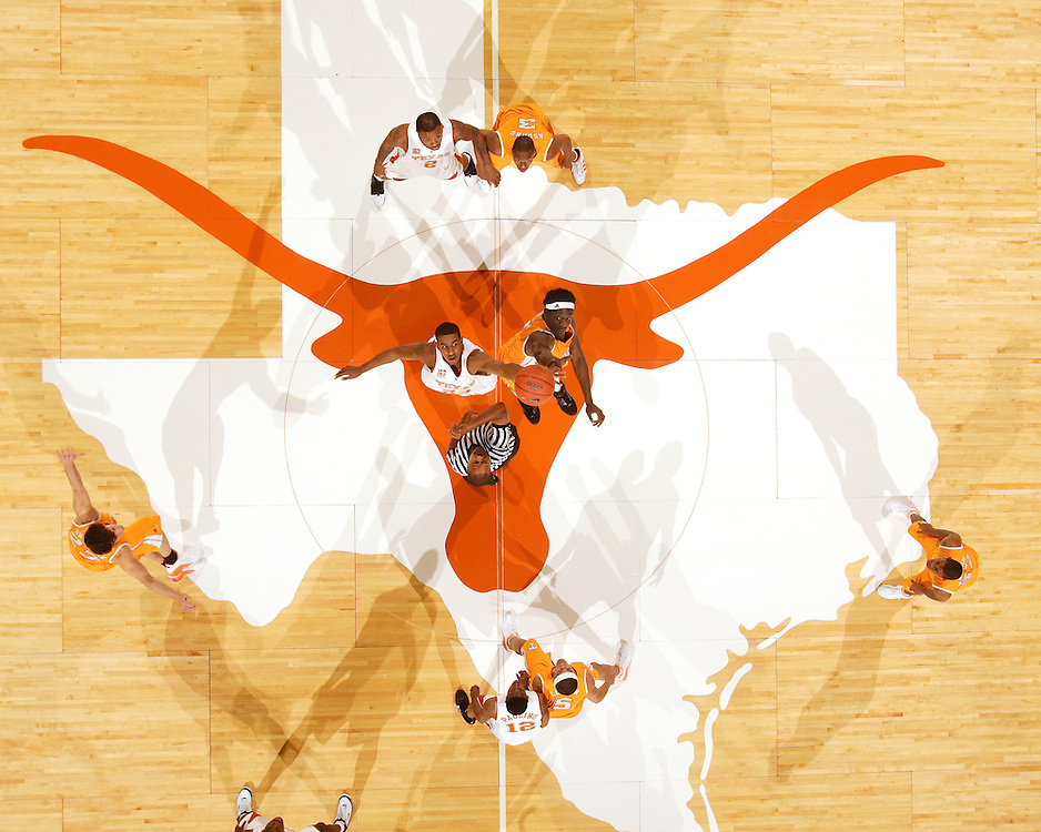 View from above as LaMarcus Aldridge of Texas and <br />