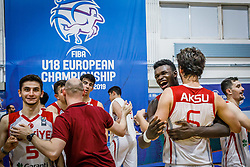 Kucuk Omer of Turkey , Bona Adem of Turkey , Aksu Berkan of Turkey   celebrate after winning during basketball match between National teams of Turkey and Slovenia in the SemiFinal of FIBA U18 European Championship 2019, on August 3, 2019 in Nea Ionia Hall, Volos, Greece. Photo by Vid Ponikvar / Sportida