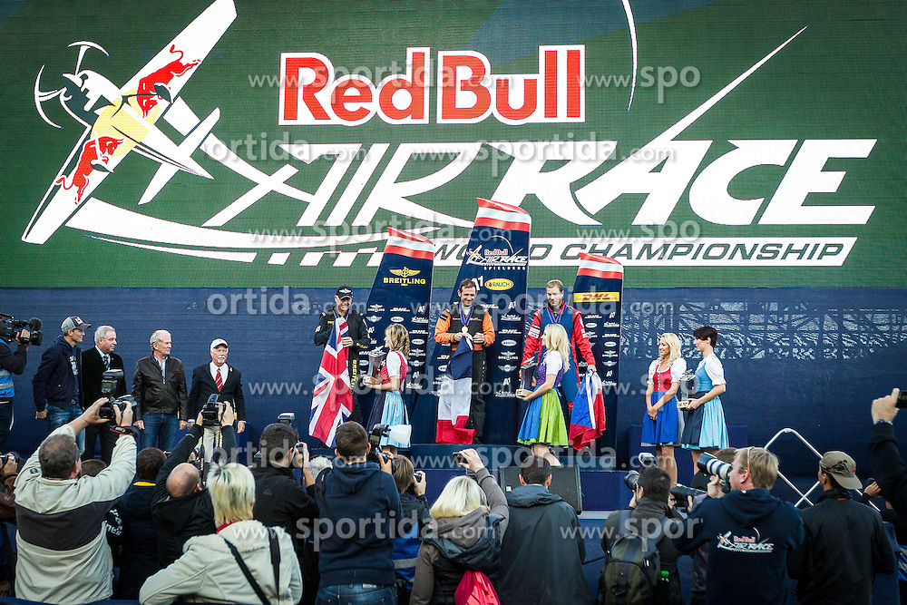 26.10.2014, Red Bull Ring, Spielberg, AUT, Red Bull Air Race, Renntag, im Bild Siegerehrung mit Nicolas Ivanoff, 1. Platz, (FRA), Nigel Lamp, Weltmeister, 2. Platz, (GBR), Martin Sonka, 3. Platz, (CZE) // during the Red Bull Air Race Championships 2014 at the Red Bull Ring in Spielberg, Austria, 2014/10/26, EXPA Pictures © 2014, PhotoCredit: EXPA/ M.Kuhnke