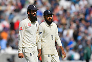 Moeen Ali and Adil Rashid of England walk off for lunch during day 3 of the 5th test match of the International Test Match 2018 match between England and India at the Oval, London, United Kingdom on 9 September 2018.