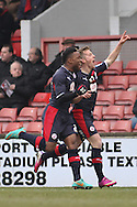Picture by David Horn/Focus Images Ltd +44 7545 970036.23/02/2013.Billy Clarke (right).of Crawley Town celebrates scoring his side's first goal with Mustapha Dumbuya (left) during the npower League 1 match at the Matchroom Stadium, London.