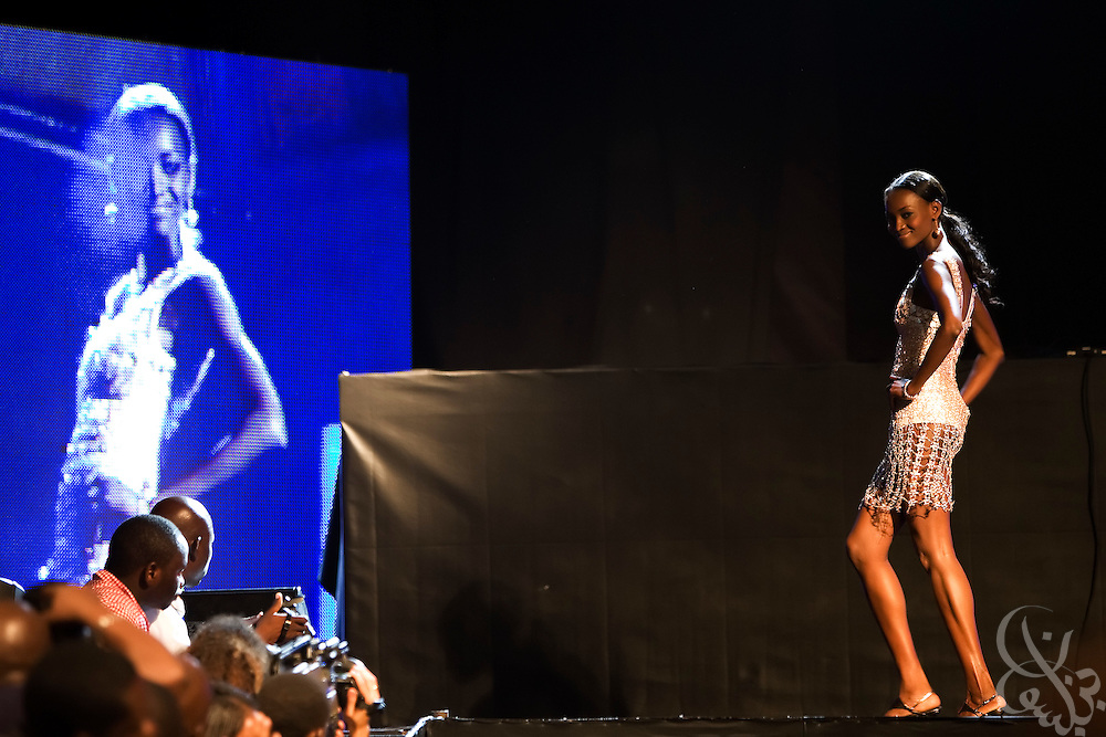 """Famed Nigerian super model Oluchi models a Chris Aire designed outfit during the July 13, 2008 leg of the ThisDay music and fashion festival in Lagos, Nigeria. The festival, themed """"Africa Rising"""", aims to raise awareness of African issues while promoting positive images of Africa using music, fashion and culture in a series of concerts and events in Nigeria, the United States and the United Kingdom. ."""