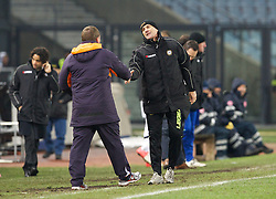 06.12.2012, Stadio Friuli, Udine, ITA, UEFA EL, Udinese Calcio vs FC Liverpool, Gruppe A, im Bild Liverpool's manager Brendan Rodgers and Udinese Calcio's head coach Francesco Guidolin after the 1-0 victory during during the UEFA Europa League group A match between Udinese Calcio and Liverpool FC at the Stadio Friuli, Udinese, Italy on 2012/12/06. EXPA Pictures © 2012, PhotoCredit: EXPA/ Propagandaphoto/ David Rawcliffe..***** ATTENTION - OUT OF ENG, GBR, UK *****
