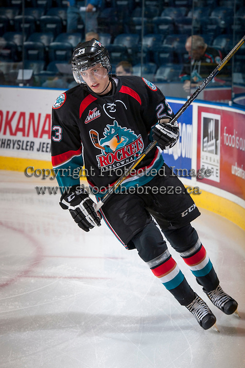 KELOWNA, CANADA - SEPTEMBER 28:   Justin Kirkland #23 of the Kelowna Rockets skates on the ice against the Victoria Royals at the Kelowna Rockets on September 28, 2013 at Prospera Place in Kelowna, British Columbia, Canada (Photo by Marissa Baecker/Shoot the Breeze) *** Local Caption ***