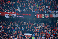 MANCHESTER, ENGLAND - Sunday, February 24, 2019: Manchester United's scoreboard records the goal-less draw during the FA Premier League match between Manchester United FC and Liverpool FC at Old Trafford. (Pic by David Rawcliffe/Propaganda)