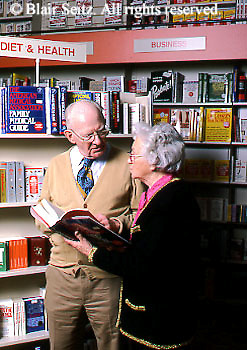 Active Aging, Senior Citizens, Retired, Activities, Shopping, Elderly Couple in Bookstore, Staying Young