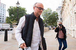 © Licensed to London News Pictures. 20/08/2019. London, UK. Special adviser to the Prime Minister Dominic Cummings is heckled by a Brexit protester as he arrives at the Cabinet Office. Photo credit: George Cracknell Wright/LNP