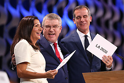 LIMA, Sept. 14, 2017  International Olympic Committee President Thomas Bach (C) celebrates with Anne Hidalgo (L), Mayor of Paris, and Eric Garcetti, Mayor of Los Angeles, after announcement during the presentation and announcement ceremony of the 2024 and 2028 Summer Olympic Games at the 131st IOC session in Lima, Peru, on Sept. 13, 2017. The IOC makes historic decision by simultaneously awarding Olympic Games 2024 to Paris and 2028 to Los Angeles on wednesday. (Credit Image: © Li Ming/Xinhua via ZUMA Wire)
