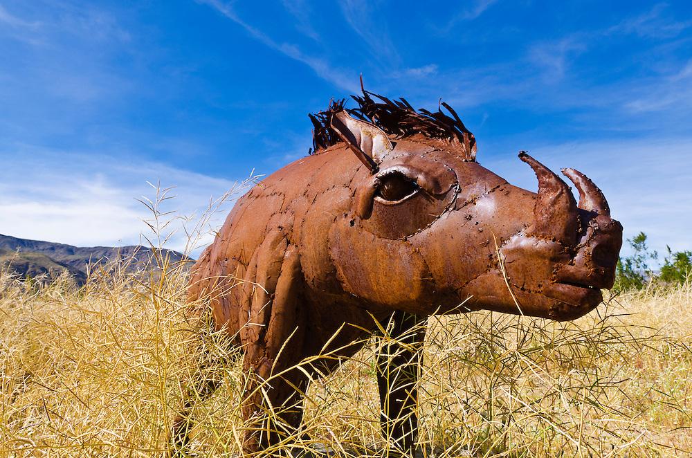Metal boar sculpture by Ricardo Breceda at Galleta Meadows Estate, Borrego Springs, California USA