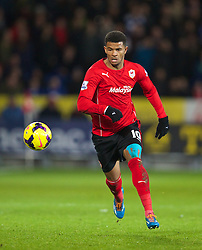 CARDIFF, WALES - Tuesday, February 11, 2014: Cardiff City's Fraizer Campbell in action against Aston Villa during the Premiership match at the Cardiff City Stadium. (Pic by David Rawcliffe/Propaganda)
