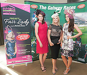 07/07/2014  Repro free Marietta Doran who'll judge the My Fair lady Competition on the Friday night of Race week with catwalk models Katie Harris and Nuala Gorham  at the launch of the Galway Races Summer Festival at the Radisson Blu Hotel Galway. Photo:Andrew Downes