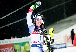 """Second placed Wendy Holdener (SUI) celebrates at Trophy ceremony after 2nd Run of FIS Alpine Ski World Cup 2017/18 Ladies' Slalom race named """"Snow Queen Trophy 2018"""", on January 3, 2018 in Course Crveni Spust at Sljeme hill, Zagreb, Croatia. Photo by Vid Ponikvar / Sportida"""