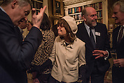 RORY BREMNER; SARAH DUNANT; ALASTAIR MOFFATT, The Walter Scott Prize for Historical Fiction 2015 - The Duke of Buccleuch hosts party to for the shortlist announcement. <br /> The winner is announced at the Borders Book Festival in Scotland in June.John Murray's Historic Rooms, 50 Albemarle Street, London, 24 March 2015.