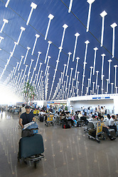 Interior of terminal building at Pudong International Airport in Shanghai China