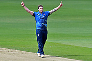 Matt Coles celebrates his wicket during the Royal London 1 Day Cup match between Surrey County Cricket Club and Kent County Cricket Club at the Kia Oval, Kennington, United Kingdom on 12 May 2017. Photo by Jon Bromley.