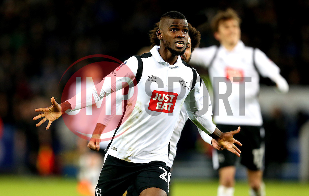 Abdoul Razzagui Camara of Derby County celebrates scoring a goal to make it 1-1 against Leicester City - Mandatory by-line: Robbie Stephenson/JMP - 08/02/2017 - FOOTBALL - King Power Stadium - Leicester, England - Leicester City v Derby County - Emirates FA Cup fourth round replay