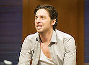 All New People <br /> by Zach Braff <br /> at The Duke of York's Theatre, London, Great Britain <br /> Press photocall<br /> 27th February 2012 <br /> directed by Peter DuBois <br /> <br /> Zach Braff (as Charlie Bloom)<br /> <br /> Eve Myles (as Emma Thomas)<br /> <br /> Susannah Fielding (as Kim)<br /> <br /> Paul Hilton (as Myron Dunlap)<br /> <br /> Photograph by Elliott Franks