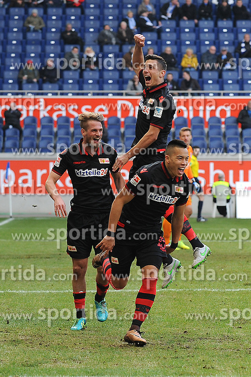 12.03.2016, Schauinsland Reisen Arena, Duisburg, GER, 2. FBL, MSV Duisburg vs 1. FC Union Berlin, 26. Runde, im Bild V.l.n.r. Soeren Brandy, Damir Kreilach und Torschuetze Bobby Wood (alle Union Berlin) jubeln ueber das 1 : 0 // during the 2nd German Bundesliga 26th round match between MSV Duisburg and 1. FC Union Berlin at the Schauinsland Reisen Arena in Duisburg, Germany on 2016/03/12. EXPA Pictures &copy; 2016, PhotoCredit: EXPA/ Eibner-Pressefoto/ Thienel<br /> <br /> *****ATTENTION - OUT of GER*****