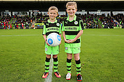 The two mascots with the match ball during the Vanarama National League match between Forest Green Rovers and Barrow at the New Lawn, Forest Green, United Kingdom on 1 October 2016. Photo by Shane Healey.
