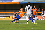 Forest Green Rovers Ben Jefford (3) is tackled by Braintree Town's Jack Cowgill leading to treatment during the Vanarama National League match between Braintree Town and Forest Green Rovers at the Amlin Stadium, Braintree, United Kingdom on 24 September 2016. Photo by Shane Healey.