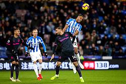 Mathias Zanka Jorgensen of Huddersfield Town beats Cenk Tosun of Everton to a header - Mandatory by-line: Robbie Stephenson/JMP - 29/01/2019 - FOOTBALL - The John Smith's Stadium - Huddersfield, England - Huddersfield Town v Everton - Premier League