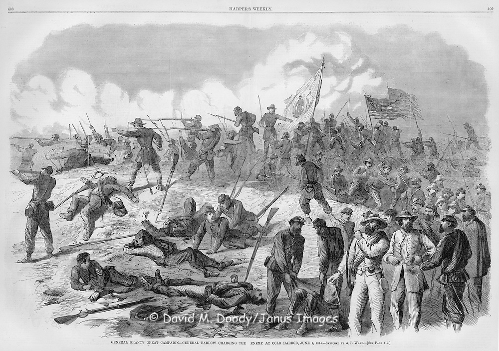 Civil War: Grant's Campaign at Cold Harbor Virginia June 1, 1864 General Barlow charging the enemy. Harper's Weekly 1864 Double page ill by A R Waud
