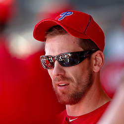 February 27, 2011; Clearwater, FL, USA; Philadelphia Phillies starting pitcher Cliff Lee (33) in the dug out during a spring training exhibition game against the New York Yankees at  Bright House Networks Field. Mandatory Credit: Derick E. Hingle