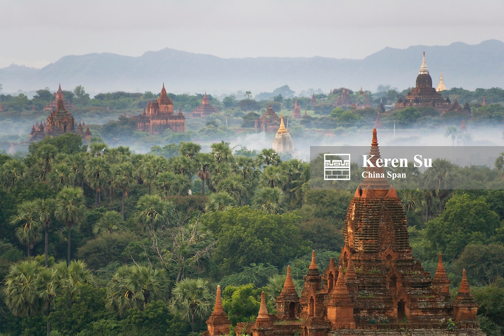 Temples in Bagan in early morning mist, Myanmar