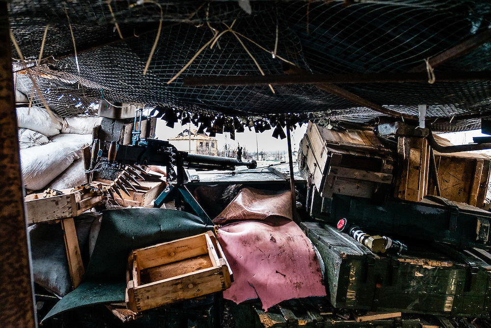 Inside one of the bunker of Ukrainian army position.