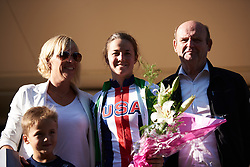 Ruth Winder (USA) earns the green jersey at Tour Cycliste Féminin International de l'Ardèche 2018 - Stage 4, a 116.3km road race from Chateauneuf de Gadagne to Mont Serein, France on September 15, 2018. Photo by Sean Robinson/velofocus.com