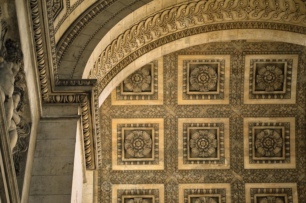 Architectural detail on the Arc du Triomphe, Paris, France.