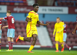 UPTON PARK, ENGLAND - Friday, September 12, 2014: Liverpool's Shay Ojo celebrates scoring the second goal against West Ham United during the Under 21 FA Premier League match at Upton Park. (Pic by David Rawcliffe/Propaganda)